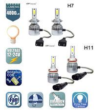 Combo H11 and H7 LED Headlight Bulbs Kit High Low Beam Fog Light 6000K 4pcs