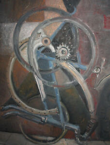 LARGE VINTAGE OIL PAINTING STILL LIFE WITH BICYCLE