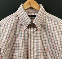 SOUTHERN MARSH Men's Long Sleeve Wrinkle Free Shirt sz L Large Pink/Gray Check