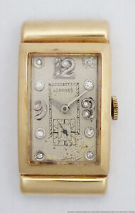 Vintage Ultra Long 14k Gold Longines Diamond Dial Hooded Lugs Mens Watch