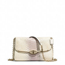 NWT Coach Pink Madison Crossbody Convertible Clutch/ Bag Python Embossed Leather