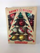 "12 Vintage SHINY BRITE 2-1/2"" Assorted Glass Ball Christmas Tree Ornaments & Box"