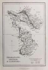 1841 Antique Map; Counties Fermanagh, Leitrim & Longford, Ireland