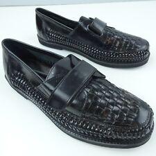 New Men's Deer Stags Black Basket Weave Leather Slip On Loafers Strap Size 8Eee
