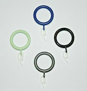 Curtain Rings with Hooks Fits 22mm - 28mm pole or rail. Loop gliders. Plastic