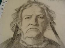 """vintage Drawing: OLDER LADY signed K S BOWERS aprox 12 x 19"""" early 1900's GREAT"""