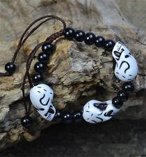 NEW Fashion Unisex Skull Skeleton Charm Black Ball Beaded Bracelet Jewelry Gift