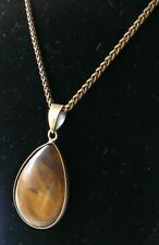 Natural Tiger's Eye Teardrop Bronze Necklace