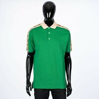 GUCCI 880$ Polo Shirt with Interlocking G Stripe In Green Cotton Piquet