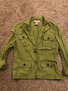 Women's Bandolino Linen Green Lightweight Casual Jacket L 10