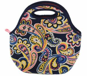 Built NY Gourmet Getaway Durable Insulated Neoprene Lunch Tote Posh Paisley Navy