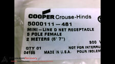 COOPER CROUSE-HINDS 5000111-481 CORDSET 5 POLE FEMALE STRAIGHT 2M, NEW #197225