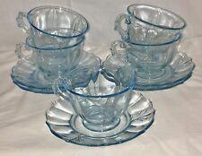 5 Fostoria BAROQUE BLUE *CUPS & SAUCERS*