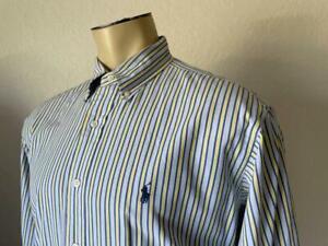 """RALPH LAUREN Men's Blue Striped Yarmouth Long Sleeve Dress Shirt 16 1/2 - 32/33"""""""