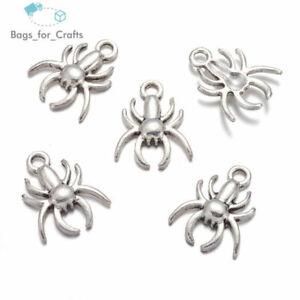Tibetan Silver Spider Gothic Spooky Halloween Charms Pendants 18mm (TC122)