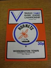 17/03/ 00000400 1982 Rugby League Programme: Rochdale Hornets v Workington (Team Changes)