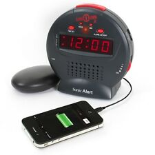 Vibrating Travel Alarm Clock, Powerful Bed Shaker Loud Ringer, USB Phone Charger