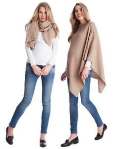 Seraphine Camel Cable Knit Breastfeeding Cover Maternity Shawl, New With Tags