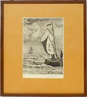 Hans Thoma Orig Radierung handsigniert Scheveningen Meer Segelboote 37 x 33 cm