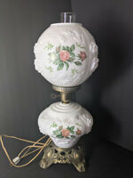 Vintage GWTW Puffy Roses Milk Glass Hurricane Lamp 3-way Hand Painted NICE