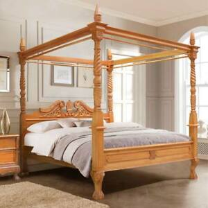 "USA King 76""X80"" MahoganyQueen Anne style hand carved four poster canopy bed"
