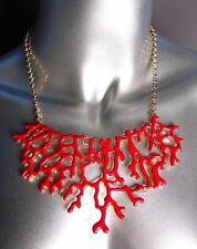 UNIQUE Red Laquer Enamel Coral Motif Gold Metal Drape Necklace Earrings Set
