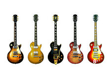 More details for five famous gibson les paul guitars - poster print a1 size