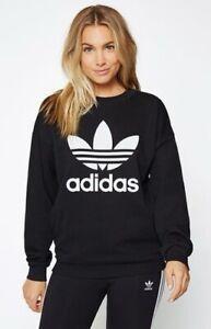 Women's Adidas Originals Sweatshirt Sweater Jumper Top Black UK Size 10 Pockets