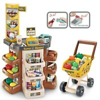 Shopping Grocery Play Store For Kids With Shopping Cart And Scanner-Brown