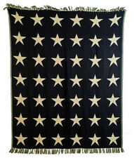 """New VHC Country Primitive 100% Cotton Jacquard Throw Blanket Black Star 50x60"""""""