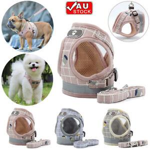 Reflective Dog Harness Leash Nylon Pet Cat Soft Mesh Vest Small Medium Puppy AU
