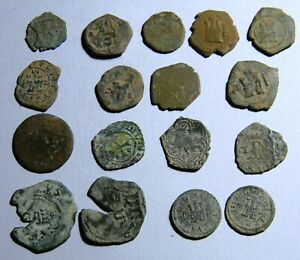 Lot of 17 Spanish Colonial Pirates Cob Coins (0550)