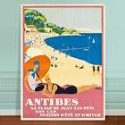 "Stunning Vintage France Travel Poster Art ~ CANVAS PRINT 8x10"" Antibes Beach"