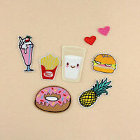 8PCS Donuts Fruit DIY Embroidery Sew Iron On Patch Badge Clothes Fabric Applique