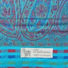 PASHMINA 100% Pure Cashmere 180x70cm, Turquoise Mix, Shawl Stole Wrap Scarf
