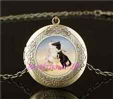 Vintage White And Black Horse Cabochon Glass Brass Locket Pendant Necklace