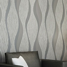 3D Damask  Sliver Wave Wallpaper Roll Home Decor Silver Grey Wall Paper Rolls