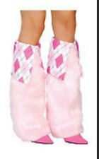 Fur and Argyle Boot Covers - Argyle/Baby Pink