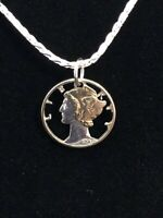 "Old US 1940 Silver Mercury Liberty Dime Cut Out Coin Necklace Pendant 18"" Chain"