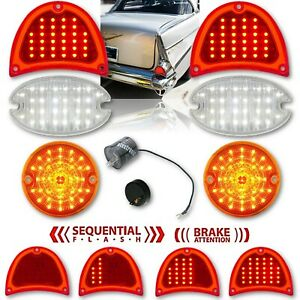 57 Chevy Bel Air Sequential LED Tail / Back Up / Park Light Lenses & Flasher Set