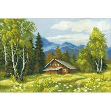 """Swiss Chalet Counted Cross Stitch Kit 15""""X10.5"""" 14 Count 499993818219"""