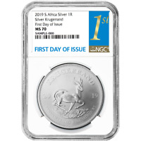 2019 South Africa Silver Krugerrand 1oz NGC MS70 FDOI First Label