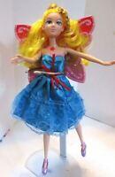 Barbie fairy doll golden blonde hair blue dress & mauve ballet shoes