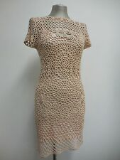 Beautiful dress by Chloé pink crochet knee length short sleeve with slip XS 8-10