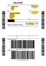 DHL Paketmarken von 1kg bis 31,5kg maximal 120x60x60 cm Größe (Online & Sicher)