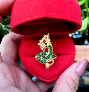 Ring Naga ฺฺEye Green Gems Gold Serpent Buddha Thai Amulet Charm Lucky Love