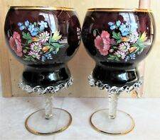 CZECH AMETHYST PAIR MANTEL COMPOTE FLORAL GOLD TRIM CLEAR GLASS PIECRUST AT BASE