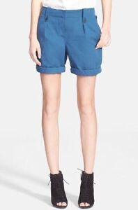 NWT Burberry Brit Carlby Cotton Linen Cuffed Shorts Lupin Blue $275 – US 4, 8