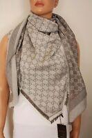 GUCCI Schal Tuch mit GG Muster 140x140 cm Wolle/Seide beige NEU 281942