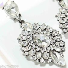 Hot New Design Lady White Crystal Bling Rainbow Drop/Dangle Earring 6.4cm E611